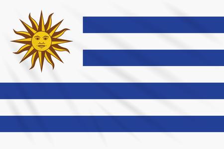 Flag Uruguay swaying in wind, realistic vector.
