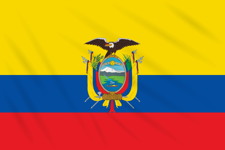 Flag Ecuador swaying in wind, realistic vector.