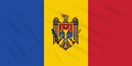 Flag Moldova swaying in wind, realistic vector.