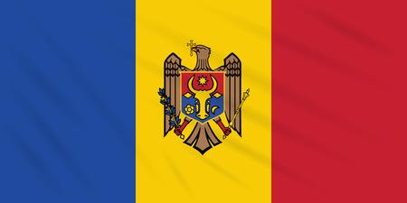 Flag Moldova swaying in wind, realistic vector. Иллюстрация