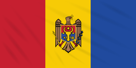 Flag Moldova - reverse side swaying in wind, realistic vector