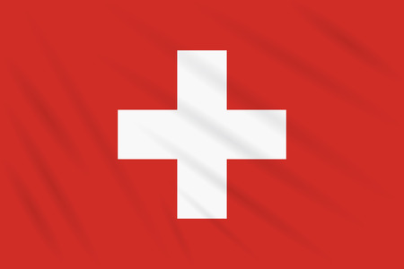 Flag Switzerland swaying in wind, realistic vector.