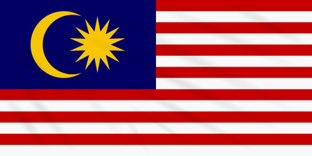 Flag Malaysia swaying in wind, realistic vector.