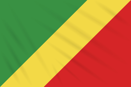 Flag Republic of Congo swaying in wind, realistic vector.