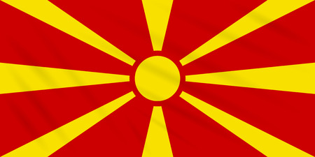 Flag Macedonia swaying in wind, realistic vector.