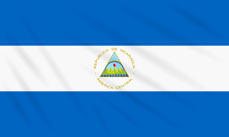 Flag Nicaragua swaying in wind, realistic vector.