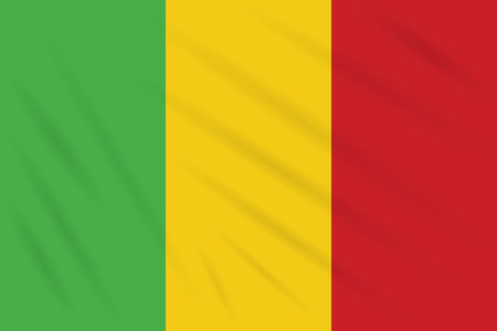 Flag Mali swaying in wind, realistic vector.