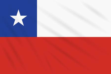 Flag Chile swaying in wind, realistic vector.