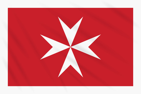 Civil ensign of Malta swaying in wind, realistic vector.