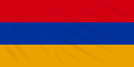Flag Armenia swaying in wind, realistic vector.