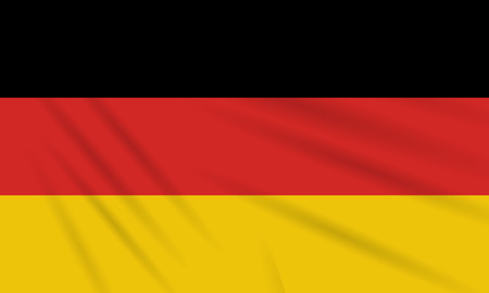 Flag Germany swaying in wind, realistic vector.
