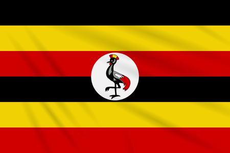 Flag Uganda swaying in wind, realistic vector.