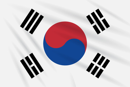 Flag South Korea swaying in wind, realistic vector.