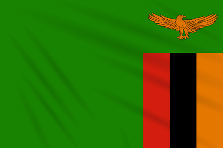 Flag Zambia swaying in wind, realistic vector.