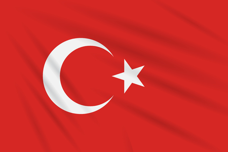 Flag Turkey swaying in wind, realistic vector.