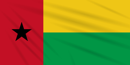 Flag Guinea-Bissau swaying in wind, realistic vector.