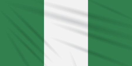 Flag Nigeria swaying in wind, realistic vector.