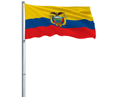 Isolate flag of Ecuador on a flagpole fluttering in the wind on a white background, 3d rendering