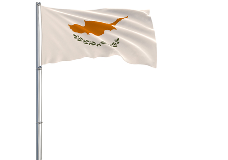 Isolate flag of Republic of Cyprus on a flagpole fluttering in the wind on a white background, 3d rendering