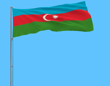 Flag of Azerbaijan on the flagpole fluttering in the wind on pure blue background, 3d rendering