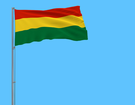 Isolate flag of Bolivia on a flagpole fluttering in the wind on a blue background, 3d rendering
