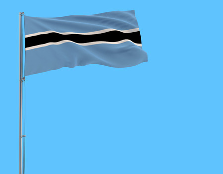 Isolate flag of Botswana on a flagpole fluttering in the wind on a blue background, 3d rendering