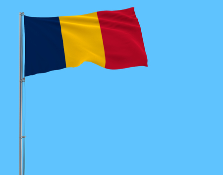 Isolate flag of Chad on a flagpole fluttering in the wind on a blue background, 3d rendering