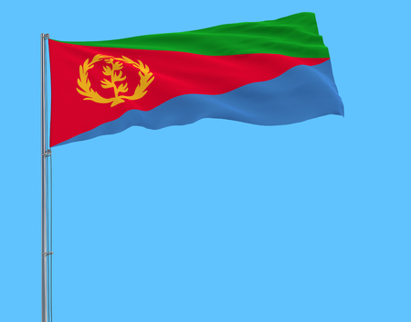 Flag of Eritrea on the flagpole fluttering in the wind on a pure blue background, 3d rendering