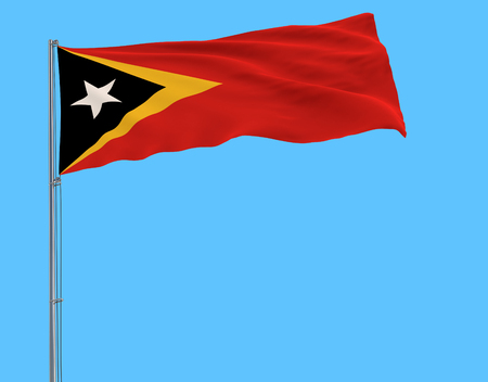 Flag of Democratic Republic of Timor-Leste on the flagpole fluttering in the wind on a blue background, 3d rendering