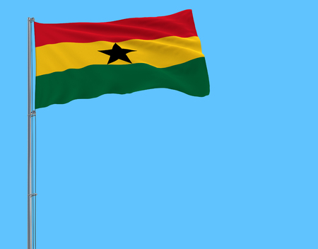 Flag of Ghana on the flagpole fluttering in the wind on pure blue background, 3d rendering 스톡 콘텐츠