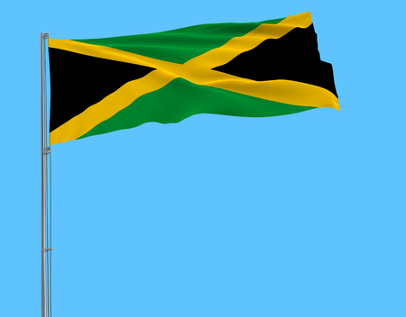 Flag of Jamaica on flagpole fluttering in the wind on blue background, 3d rendering Stock Photo