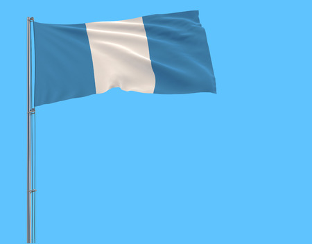 Isolate civil flag of Guatemala on a flagpole fluttering in the wind on a blue background, 3d rendering