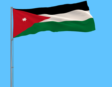 Flag of Jordan on the flagpole fluttering in the wind on a pure blue background, 3d rendering 스톡 콘텐츠
