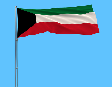 Flag of Kuwait on the flagpole fluttering in the wind on pure blue background, 3d rendering