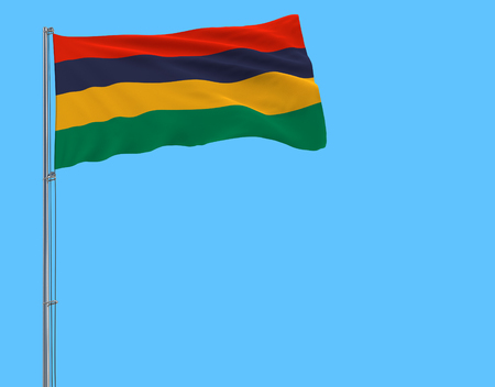 Flag of Mauritius on the flagpole fluttering in the wind on pure blue background, 3d rendering Stock Photo