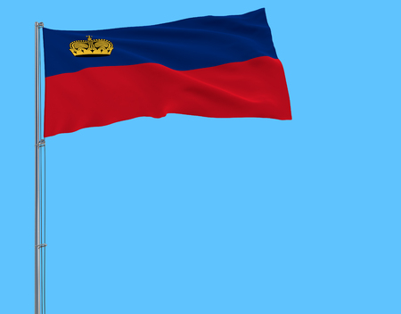 Isolate flag of Liechtenstein on a flagpole fluttering in the wind on a blue background, 3d rendering
