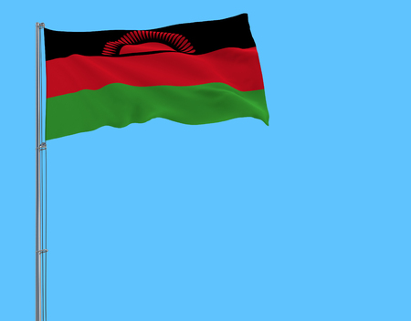 Isolate flag of Malawi on a flagpole fluttering in the wind on a blue background, 3d rendering