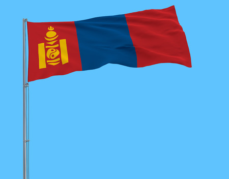Isolate flag of Mongolia on a flagpole fluttering in the wind on a blue background, 3d rendering Stock Photo