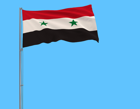 Flag of Syria on the flagpole fluttering in the wind on a pure blue background, 3d rendering