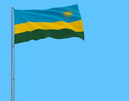 Flag of Rwanda on the flagpole fluttering in the wind on pure blue background, 3d rendering