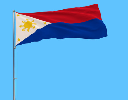 Flag of Philippines in wartime on the flagpole fluttering in the wind on a pure blue background, 3d rendering