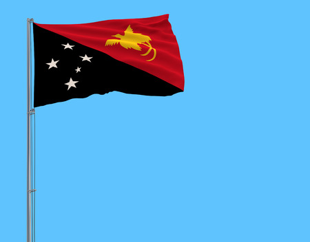 Isolate flag of Papua New Guinea on a flagpole fluttering in the wind on a blue background, 3d rendering