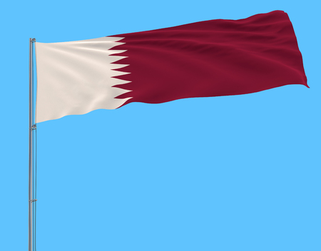 Isolate flag of Qatar on a flagpole fluttering in the wind on a blue background, 3d rendering Stock Photo