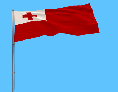 Isolate flag of Tonga on a flagpole fluttering in the wind on a blue background, 3d rendering Stock Photo