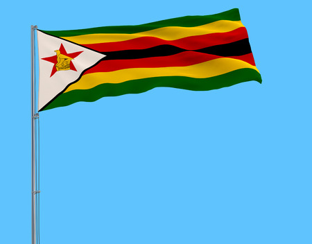 Flag of Zimbabwe on the flagpole fluttering in the wind on a pure blue background, 3d rendering
