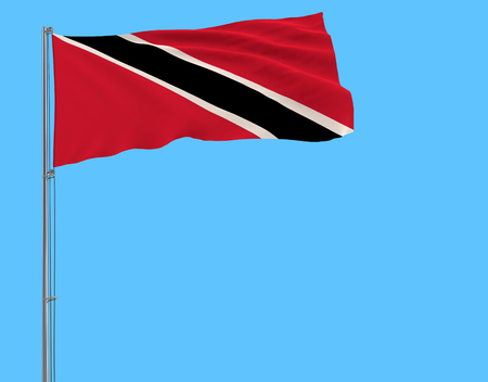 Isolate flag of Trinidad and Tobago on a flagpole fluttering in the wind on a blue background, 3d rendering