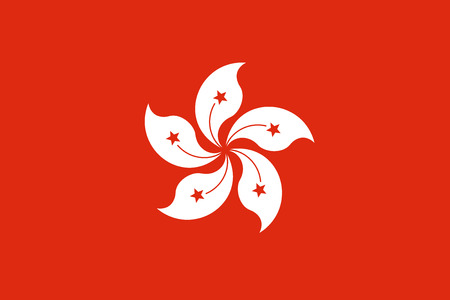 Flag of Hong Kong in official rate and colors, vector. Illustration