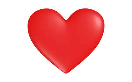 Red heart with highlights of light, vector.