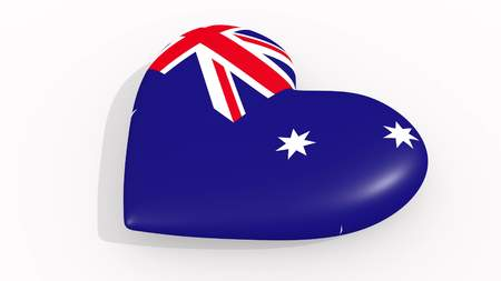 Heart in colors and symbols of Australia on white background 3D rendering