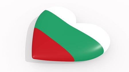 Heart in colors and symbols of Bulgaria on white background 3D rendering